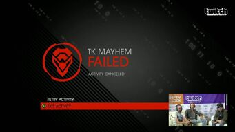 TK Mayhem - name on failure screen