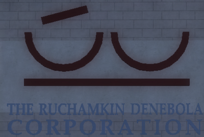 The Ruchamkin Denebola Corporation logo in Saints Row 2