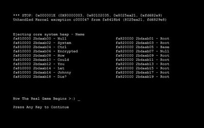 Deckers.die error screen - Press Any Key