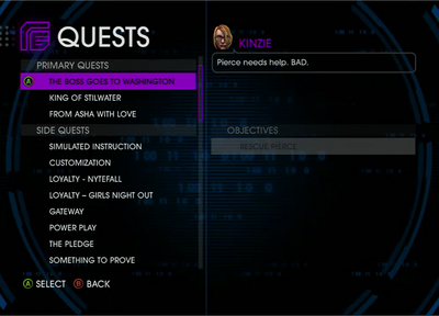 Quests Menu - The Boss Goes To Washington