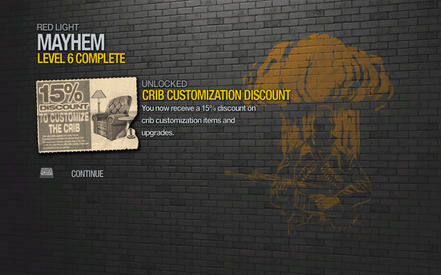 File:Crib Customization 15% Discount unlocked by Mayhem level 6 in Saints Row 2.png