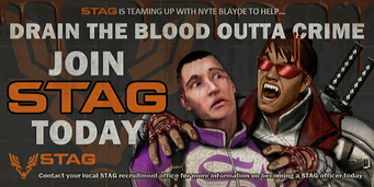 Nyte Blayde - Drain the Blood STAG recruitment billboard