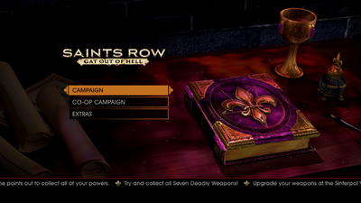 Gat out of Hell main menu - Try and collect all Seven Deadly Weapons