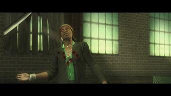 Eternal Sunshine - Mr Sunshine standing up with bullet holes