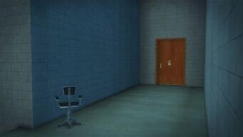 Developer offices - interior door inside walkway entrance