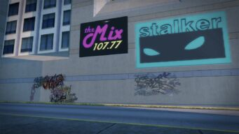 The Mix 107.77 small sign on building