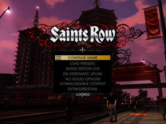 Grand Finale Part Two - Fake Saints Row menu