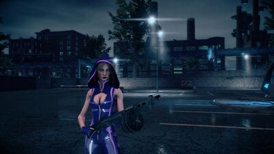 Kinzie in Super Powered outfit with a TAK-10 Streetsweeper