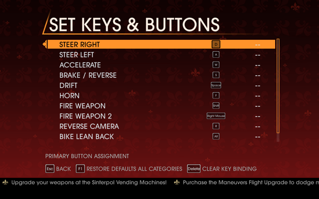 File:Saints Row Gat out of Hell - Main Menu - Options - Controls - Set Keys & Buttons - Car & Bike.png