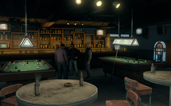Broken Shillelagh interior - wide view of pool tables and bar