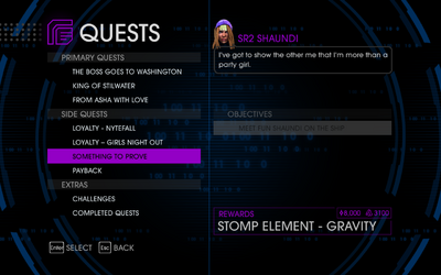 Quests Menu - Something to Prove