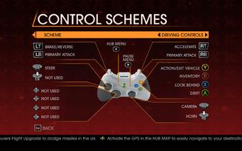 Saints Row Gat out of Hell - Main Menu - Options - Controls - Gamepad - Control Schemes - Driving Controls