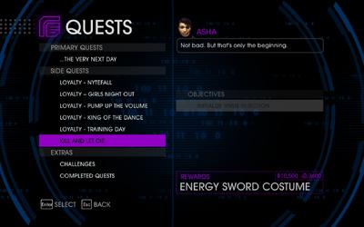 Quests Menu - Kill and Let Die