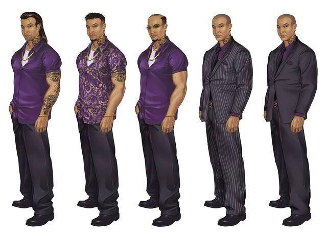 File:Johnny Gat Concept Art - Saints Row 2 - five alternate outfits.jpg