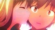 Mashiro kissing Sorata on the cheek