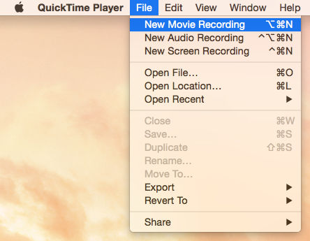 QuickTime File New Movie