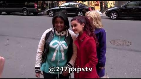 Ariana Grande gives HOMELESS MAN $20 in NYC (02-26-13)