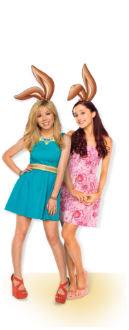 File:Ariana Grande and Jennette Mccurdy with bunny ears posing in the Nesquik Commercial.png