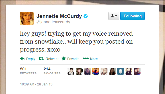 File:Jennette's tweet about Snowflake.png