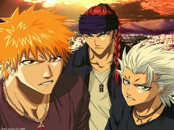 File:Bleach kurosaki ichigo bandana hitsugaya toshiro abarai renji anime boys braids white hair orange ha www.wallpaperswa.com 75.jpg