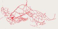 Three weeks of GPS tracks in Kibera