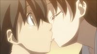 Sekai kisses Makoto anime