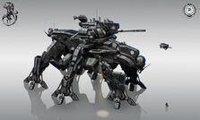 640x384 4846 Helldiver command walker 2d tank sci fi robot picture image digital art