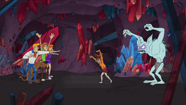 Gang points out the Crystal Crawler behind Velma