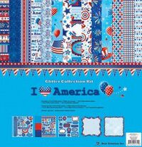 Best Creation Inc - I Love America Collection - 12 x 12 Glittered Collection Kit, BRAND NEW