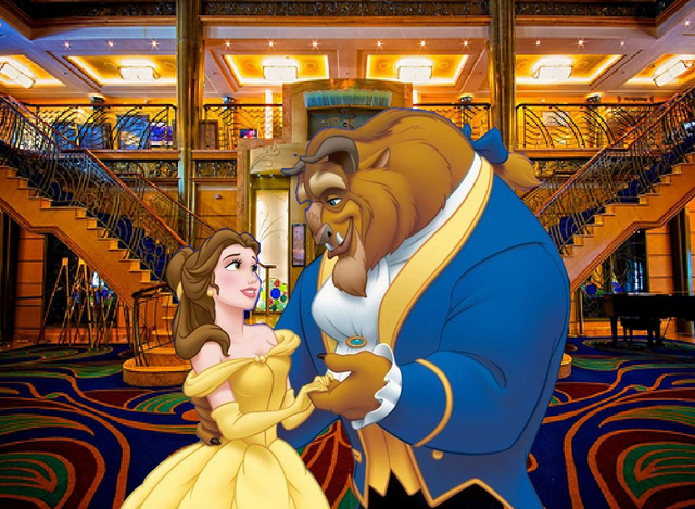 File:Belle and Beast at the Disney Cruise Line Lobby.PNG