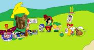 Cartoon characters and the Cartoon Munks