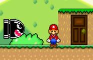 Mario Stands Next to Big Bullet Bill (on the left)