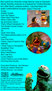 Bert and Ernie's Favorite Songs Back Cover