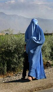 345px-Woman walking in Afghanistan