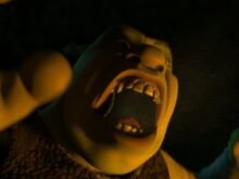 Shrek yelling comically for men in fire camp