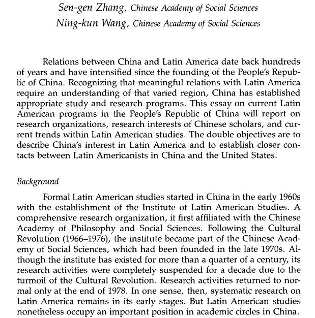 Chinese Academy of Sciences - Latin American Studies