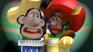 Wallace and lady are mac and cheese