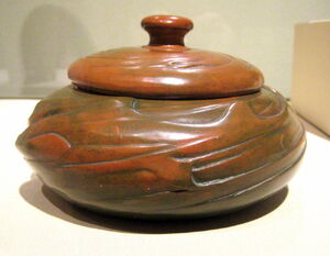 WLA lacma Redlands Pottery Covered Bowl ca 1904-1909