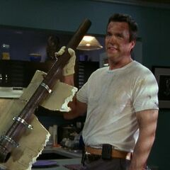 Janitor rips a pipe out of J.D.'s apartment. <span style=