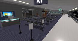 White Star Airfield terminal gate A1, looking W (08-15)