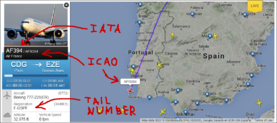 IATA, ICAO & TAIL NUMBER