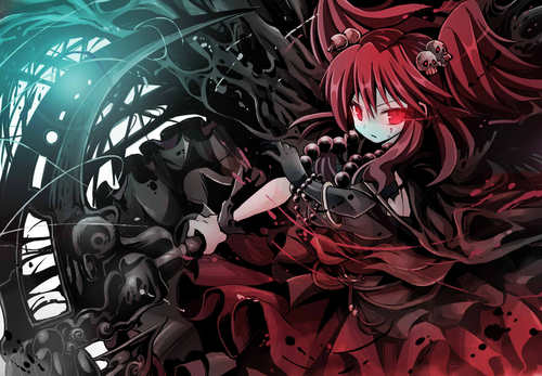 File:Konachan.com 20- 20132590 20dress 20gibuchoko 20onozuka komachi 20red eyes 20red hair 20scythe 20touhou 20weapon large.jpg