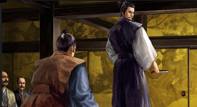 File:Katsuie trying to convince Nobunaga not to fight the Imagawa.jpg