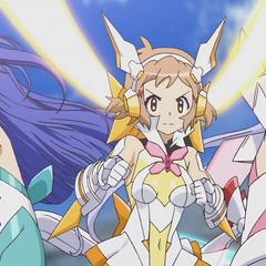 Hibiki, Tsubasa and Chris preparing to fight