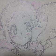Art of Miku kissing Hibiki by Satoshi Koike