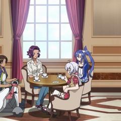 Chris having tea with Sonia, Stephan, and Tsubasa