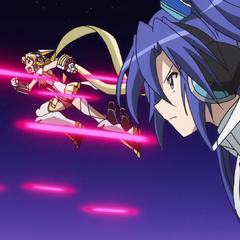 Hibiki, Tsubasa and Chris fighting against Nephilim