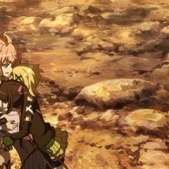 Kirika and Shirabe huging Maria