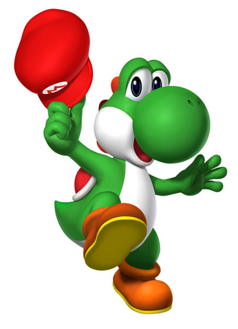 File:Yohshi with Mario's hat.png