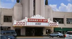 Though not in Chicago, The Pickwick theater located in Park Ridge, a suburb of Chicago was photoshopped to look like the shake it up studios